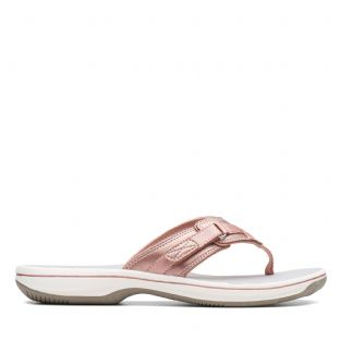 Clarks Womens Brinkley Sea Rose Gold Synthetic Sandals